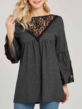Ericdress Scoop Lace Patchwork Plain Flare Sleeve T-shirt