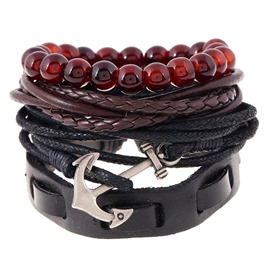 Ericdress Leather Anchor Beads Men's Bracelets