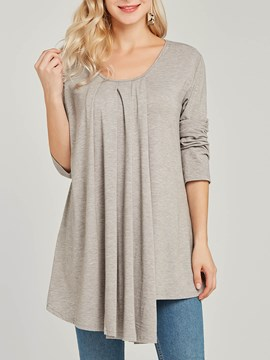 Ericdress Loose Plain Casual Mid-Length Long Sleeve T-shirt