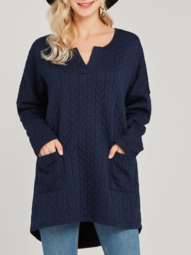 Ericdress Loose Casual V-Neck Pocket Patchwork Knitwear