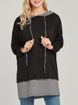 Ericdress Loose Plain Pullover Patchwork Cool Hoodie