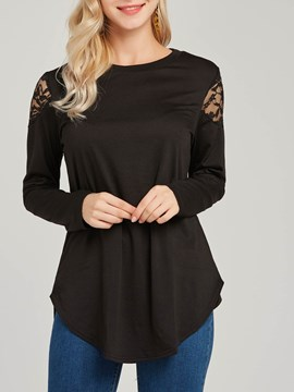 Ericdress Lace Patchwork Scoop Plain Long Sleeve T-shirt