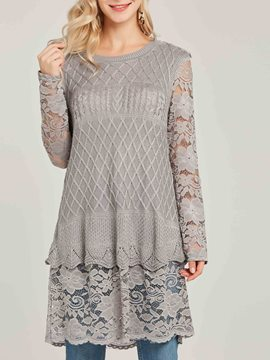 Ericdress Scoop Lace Patchwork Slim Pullover Knitwear