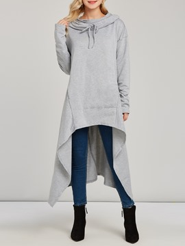Ericdress Hooded Mid-Length Pullover Plain Cool Hoodie