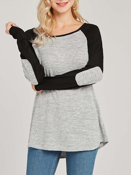 Ericdress Color Block Patchwork Casual Long Sleeves T-shirt