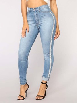Ericdress Plain Slim High-Waist Side Stripe Jeans