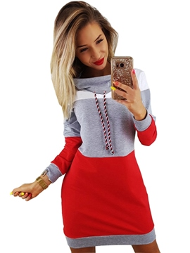 ericdress patchwork über dem knie rollkragen casual bodycon dress