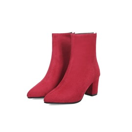 Ericdress Pointed Toe Back Zip Chunky Heel Women's Ankle Boots