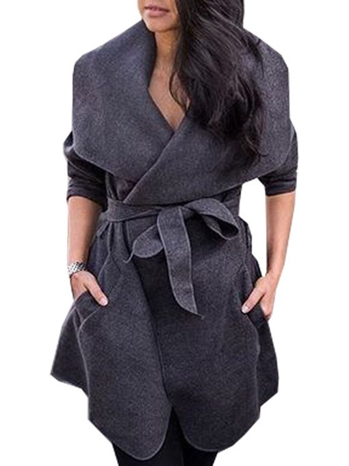 Ericdress Loose Lace-Up Winter Mid-Length Coats