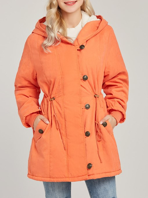 Ericdress Patchwork Zipper Pocket Hooded Coat