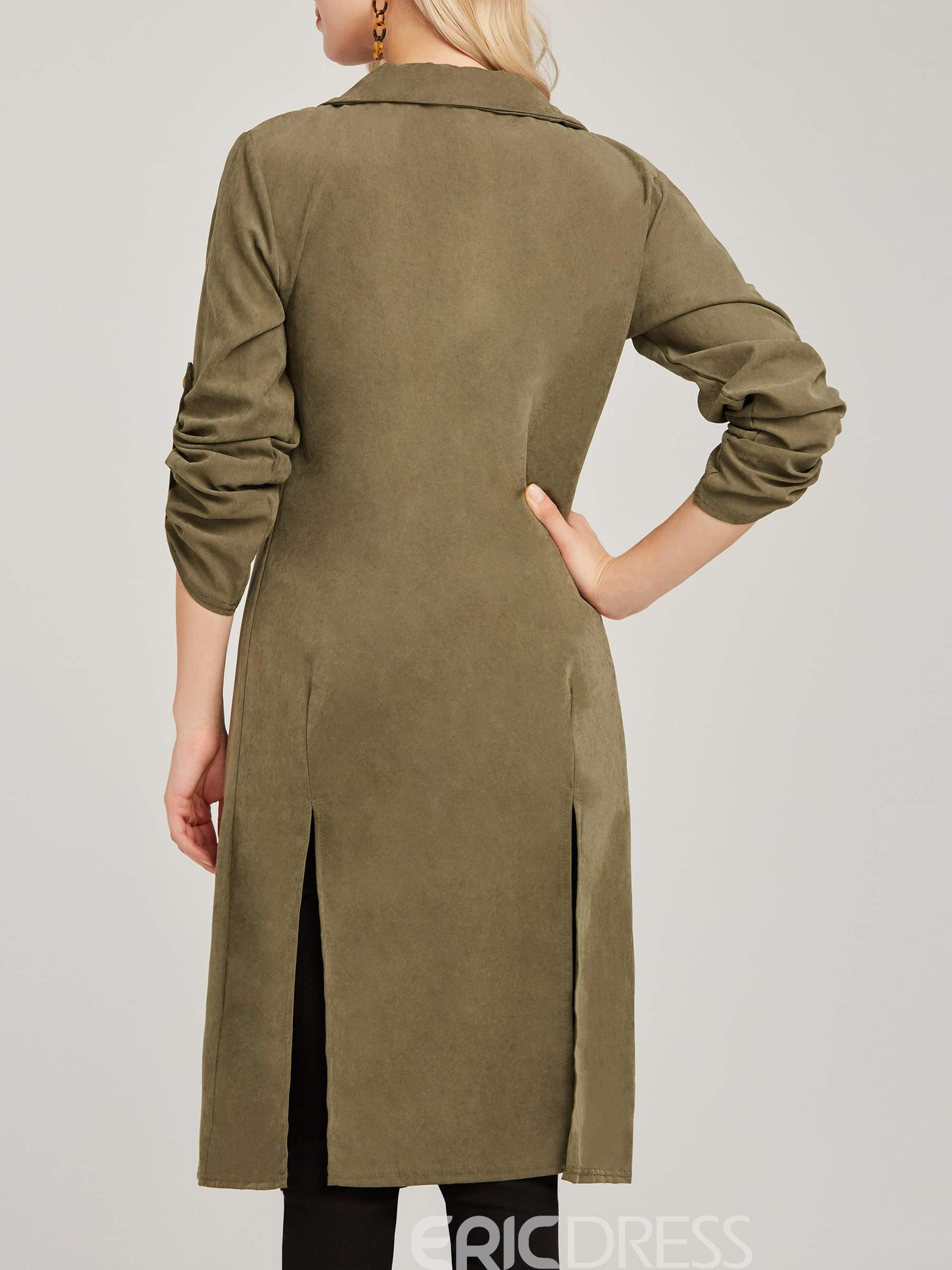 Ericdress Notched Lapel Plain Mid-Length Trench Coat