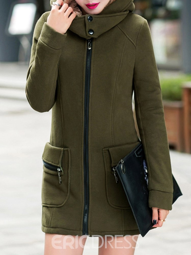 Ericdress Mid-Length Fleece Hooded Plain Coat