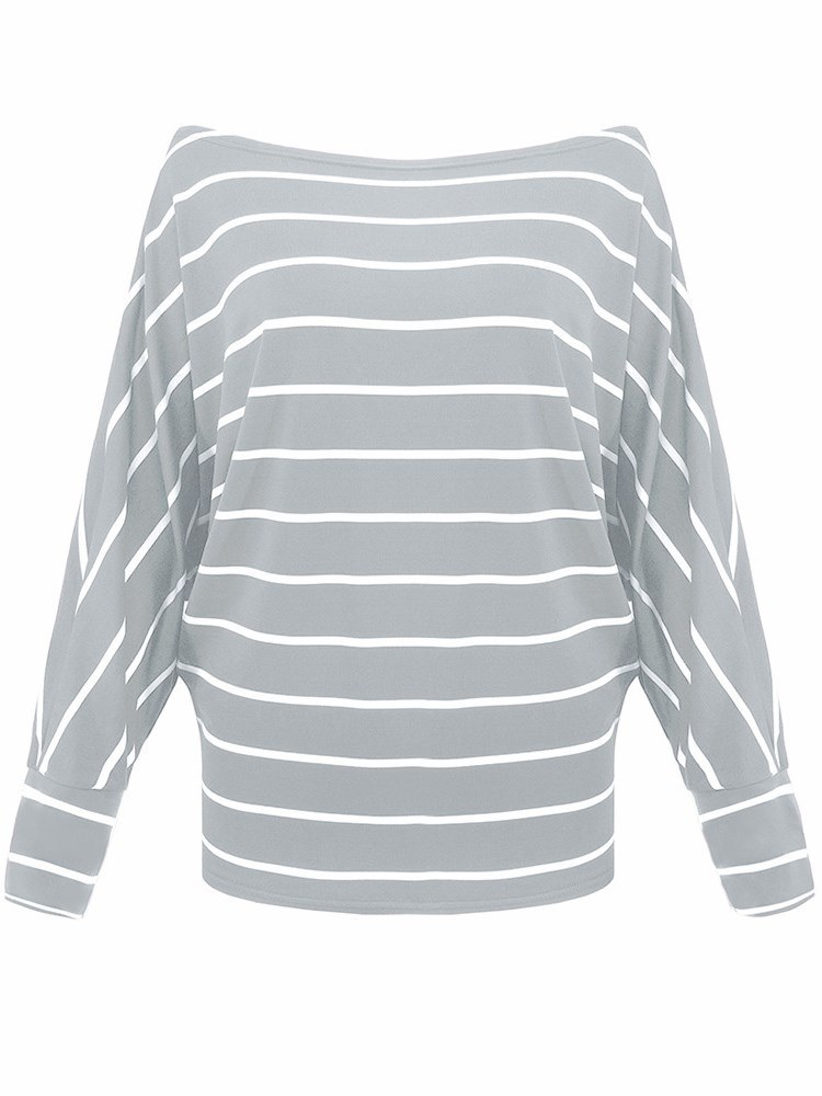 Ericdress Casual Loose Stripe Batwing Sleeve T-shirts