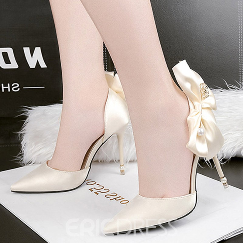 Ericdress Bow Pointed Toe Stietto Heel Women's Pumps