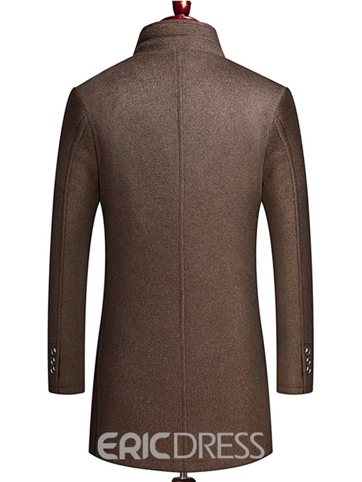 Ericdress Plain Zipper Single-Breasted Mens Wool Coat With Vest