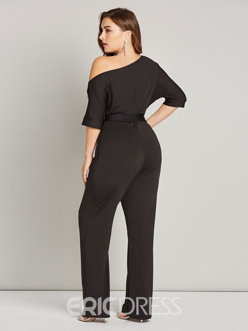 Ericdress Plus Size Sexy Lace-Up Plain Straight Skinny Jumpsuit
