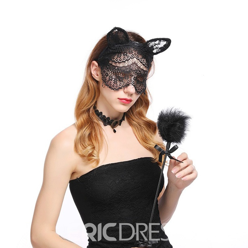 Ericdress Black Mask Sexy Lace Mask Cat Ears
