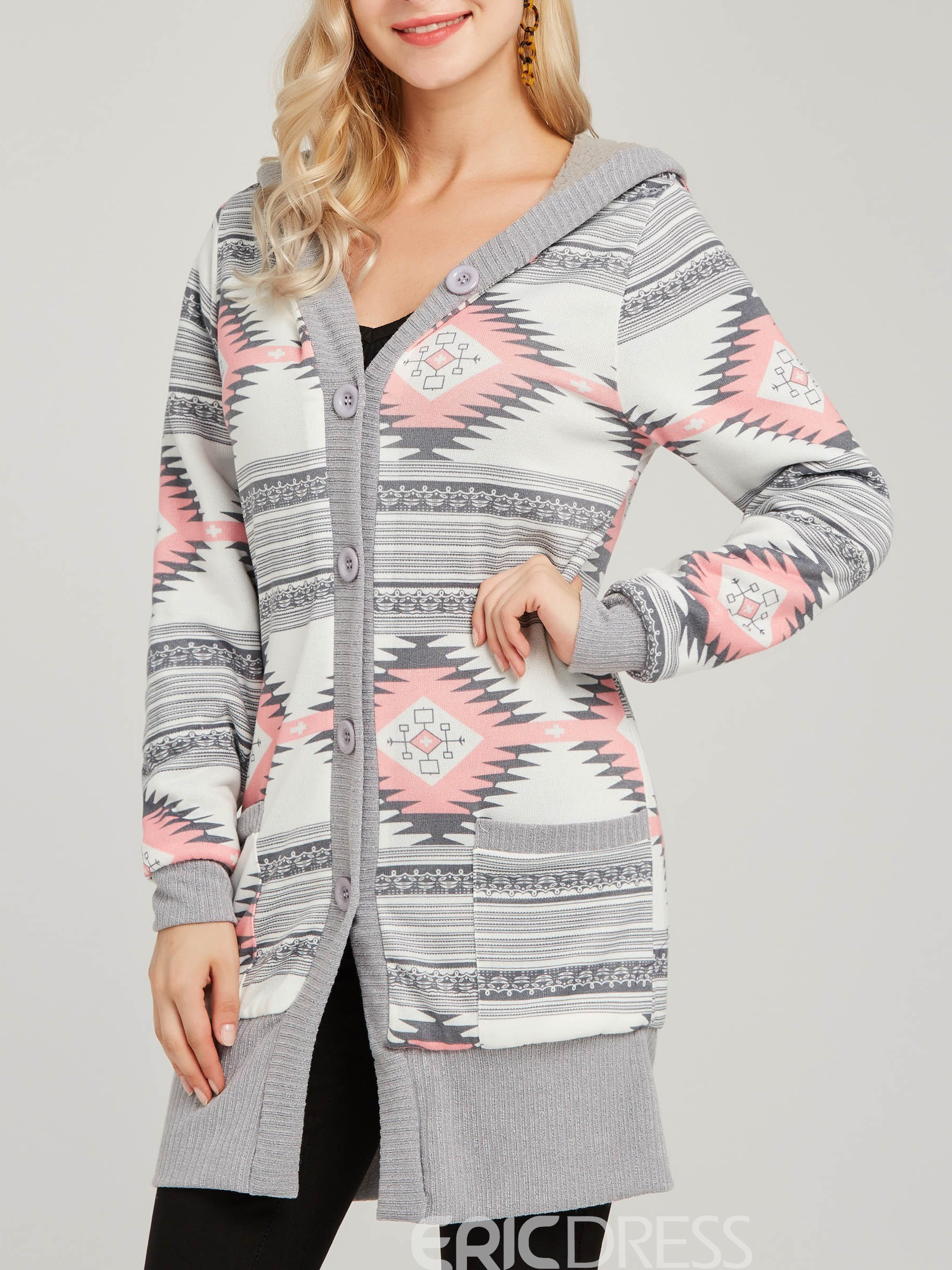 Ericdress Patchwork Pocket Print Geometric Color Block Cool Hoodie