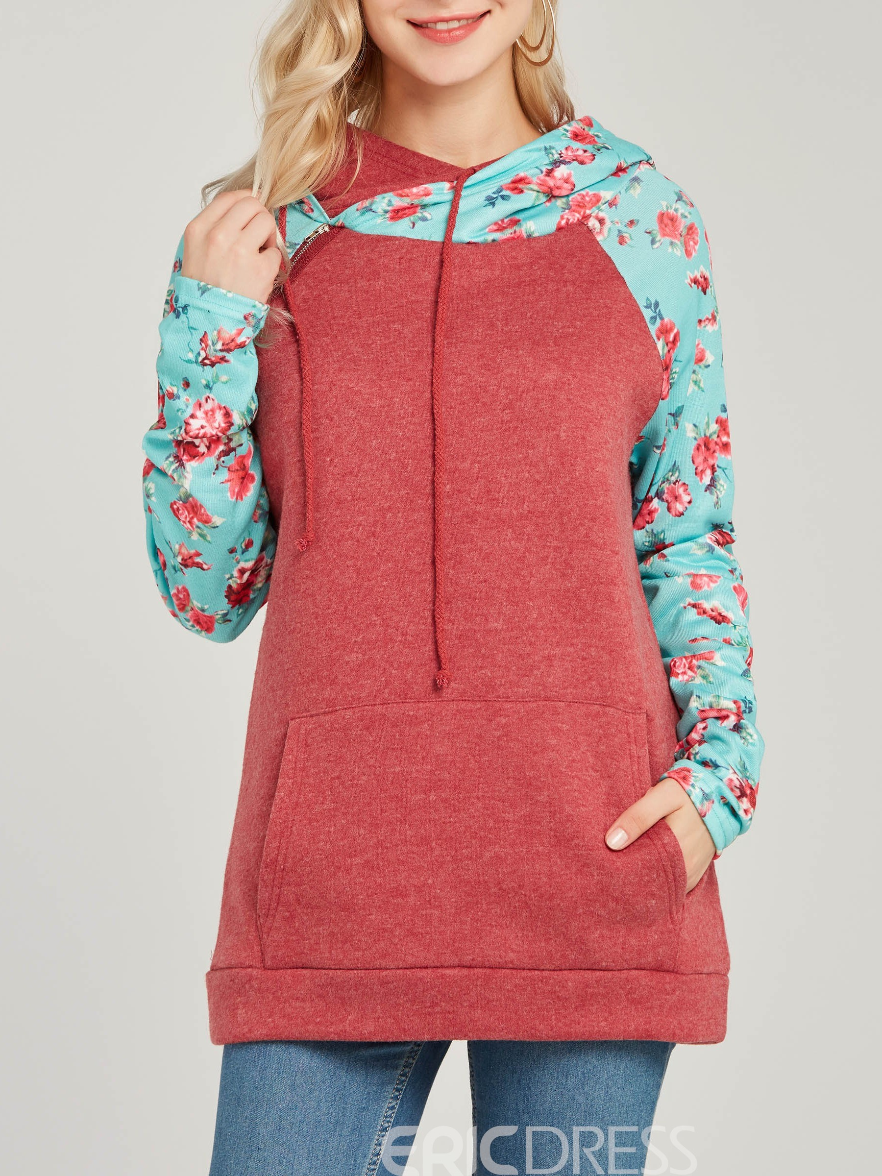 Ericdress Loose Hooded Floral Print Long Sleeves Cool Hoodie