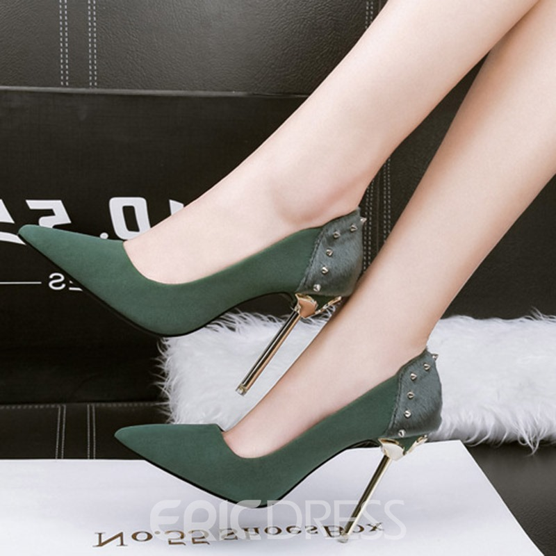 Ericdress Rivet Suede Pointed Toe Stiletto Heel Pumps