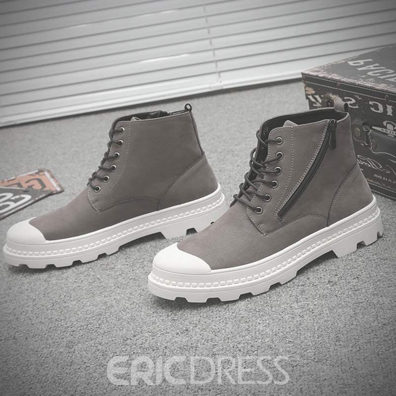 Ericdress Round Toe Side Zipper Lace-Up Men's Martin Boots