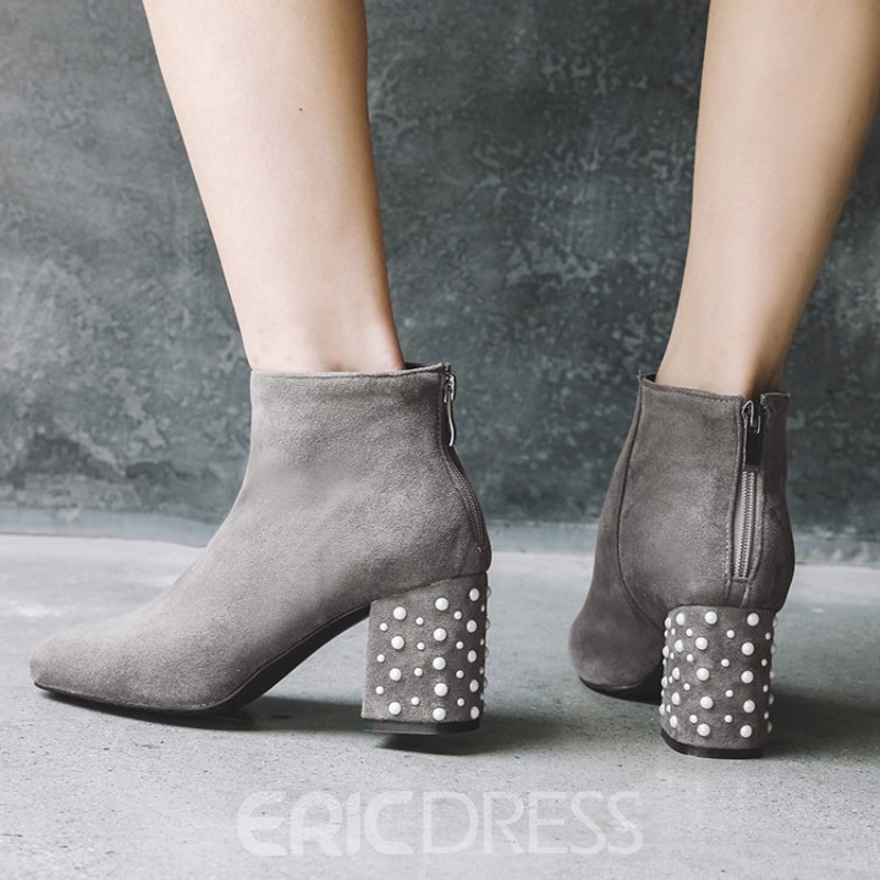 Ericdress Beads Round Toe Chunky Heel Ankle Boots