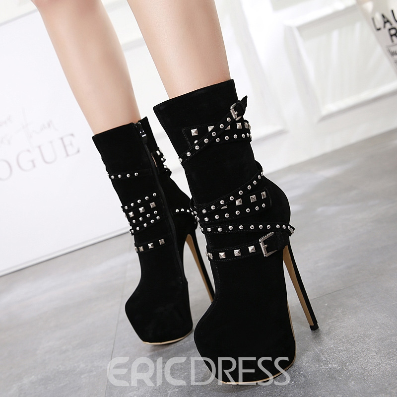 Ericdress Rivet Side Zipper Platform Stiletto Heel Women's Ankle Boots