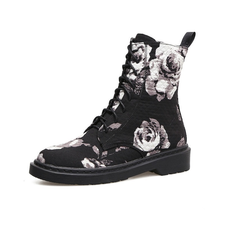 Ericdress Floral Lace-Up Front Block Heel Women's Martin Boots