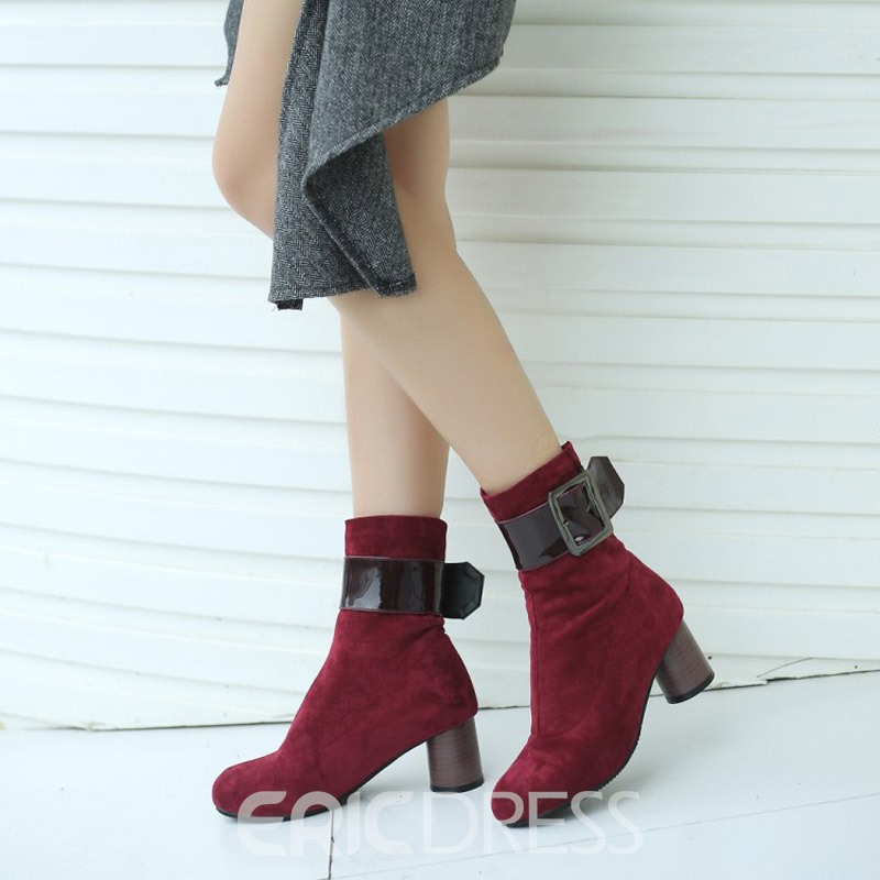Ericdress Plain Patchwork Chunky Heel Women's Ankle Boots