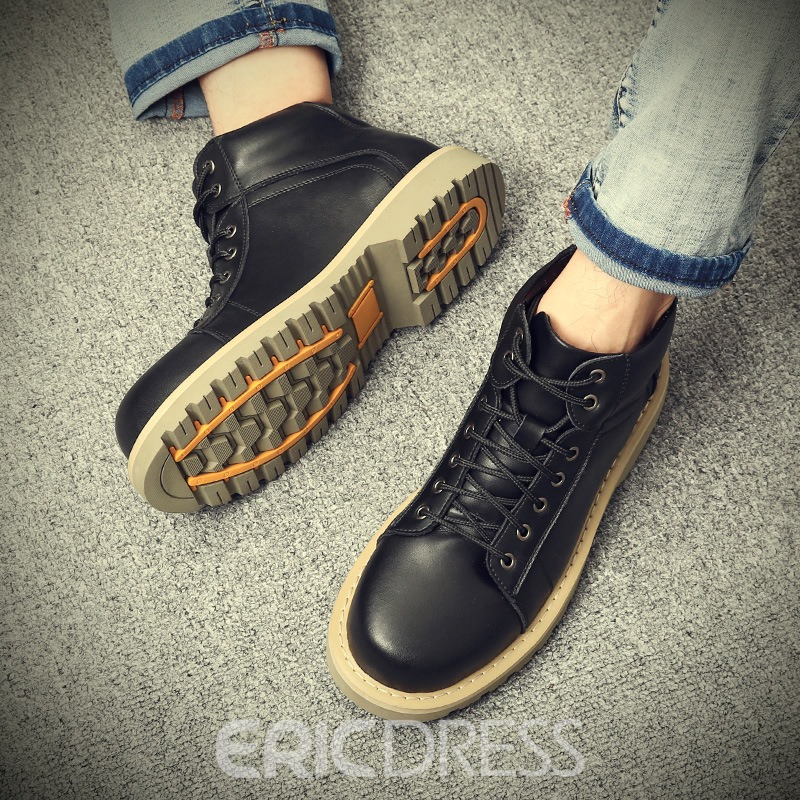 Ericdress Plain Round Toe Lace-Up Front Men's Boots