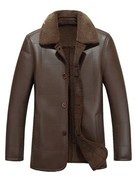 Ericdress Plain Lapel Single Breasted Mens Casual Winter Leather Jacket