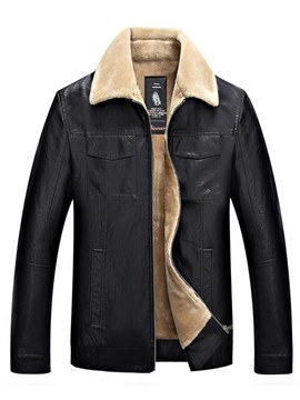 Ericdress Plain Zipper Lapel Slim Men's Winter PU Jacket