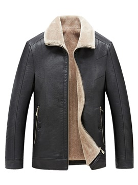 Ericdress Plain Zipper Thick Lining Mens Casual PU Leather Jacket