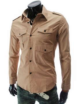 Ericdress Plain Multi-Pocket Men's Casual Shirt