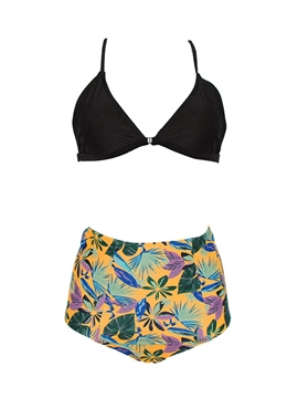 Ericdress Tankini Set Floral High-Waist Lace-Up Swimwear