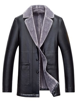 Ericdress Plain Notched Lapel Mens PU Leather Winter Jacket