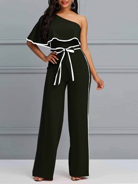 Ericdress Plain Oblique Shoulder Striped Women's Jumpsuits