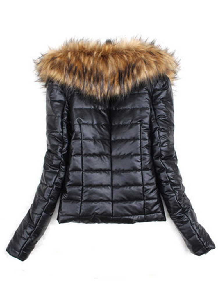 Ericdress One Button Faux Leather Fur Long Sleeves Coat