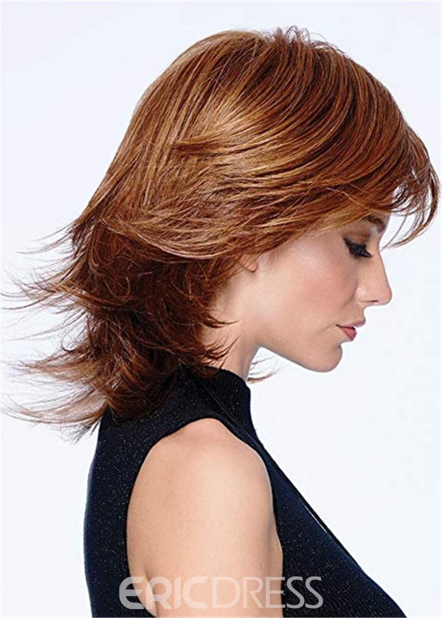 Mid Length Layered Cut Synthetic Hair Wavy Capless Wig