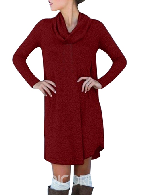 Ericdress Heap Collar Above Knee Long Sleeve Plain Casual Dress