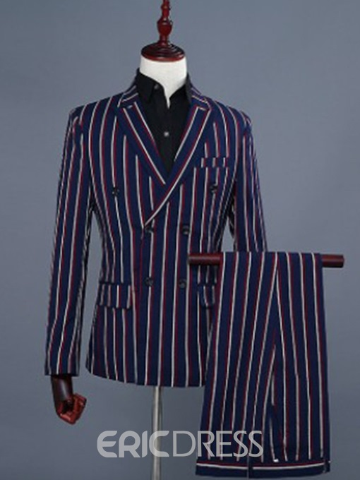 Ericdress Double-Breasted Blazer Mens Dress Suit