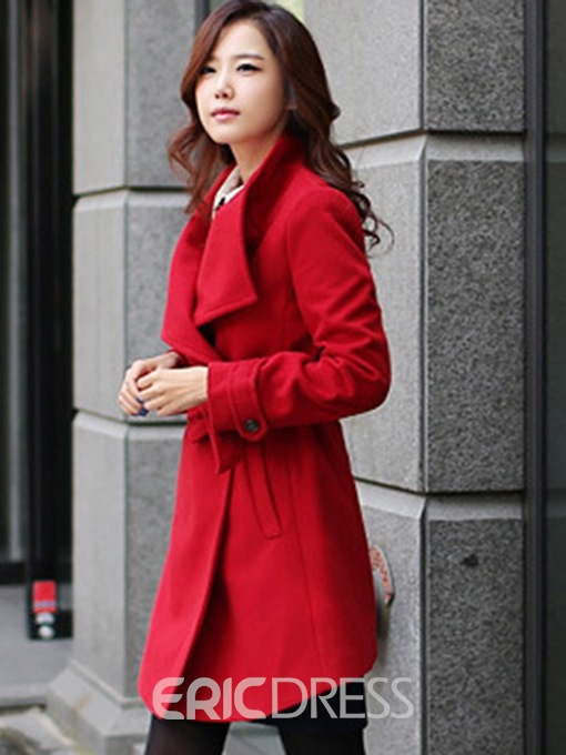 Ericdress Belt Plain Mid-Length Long Sleeves Coat