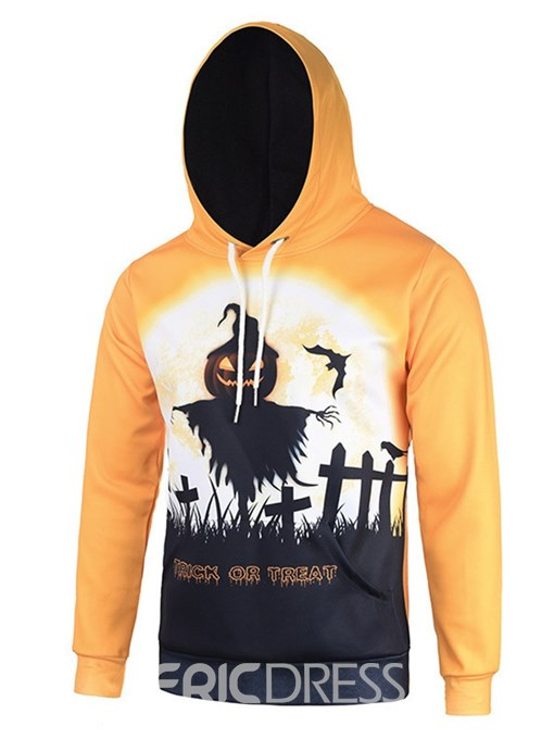 Ericdress Yellow Printed Hooded Pullover Mens Casual Halloween Hoodies