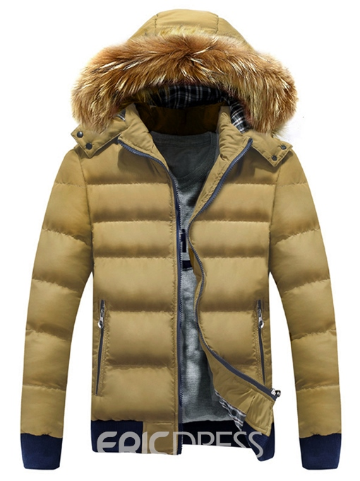 Ericdress Thicken Warm Hooded Faux Fur Collar Men's Winter Coat