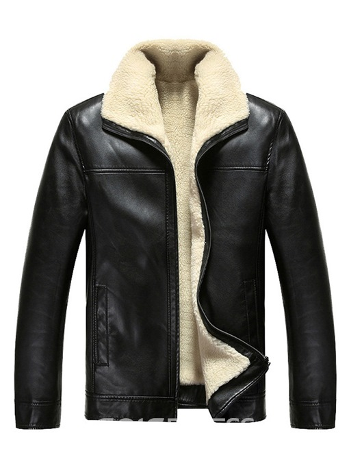 Ericdress Plain Zipper Cashmere Lining Men's PU Jacket