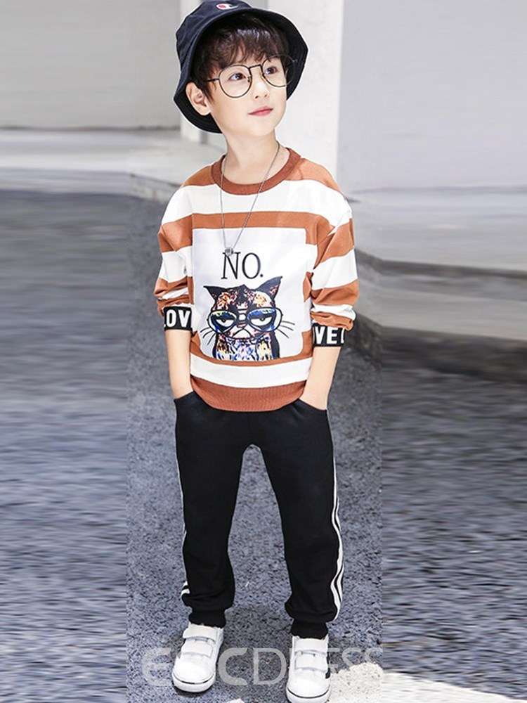 Ericdress Pullover Cartoon Stripe Casual Boys Outfits