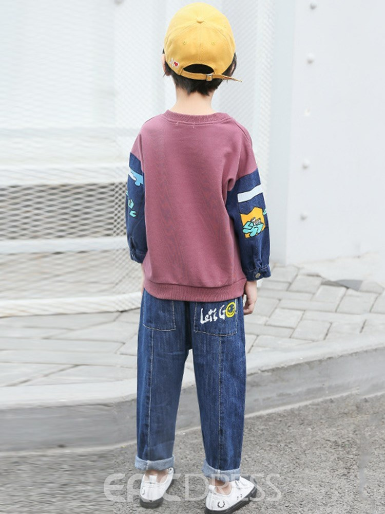 Ericdress Pullover Letter Color Block Boys Outfits