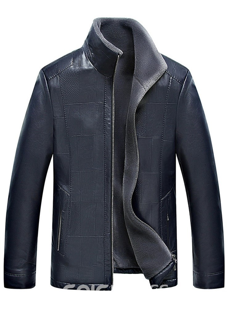 Ericdress Stand Collar Cashmere Lining Thick Mens PU Jacket