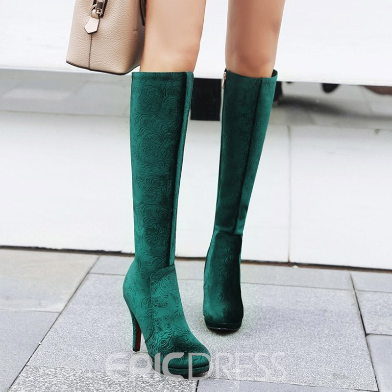 Ericdress Silk Fabric Round Toe Stiletto Heel Knee High Boots