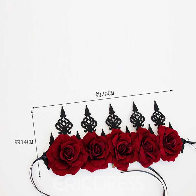 Ericdress Red Rose Halloween Cos Crown